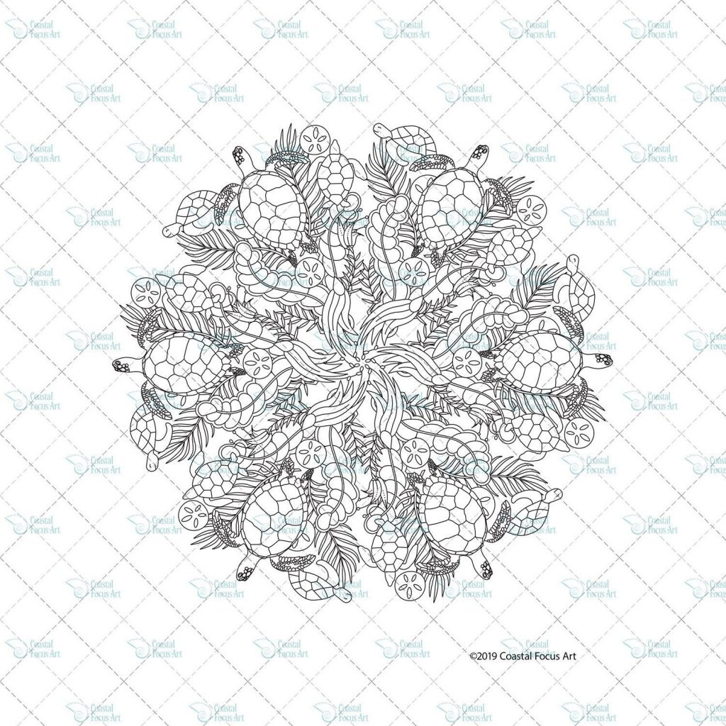Sea Turtle Mandala 1 Coloring Page - Coastal Focus Art